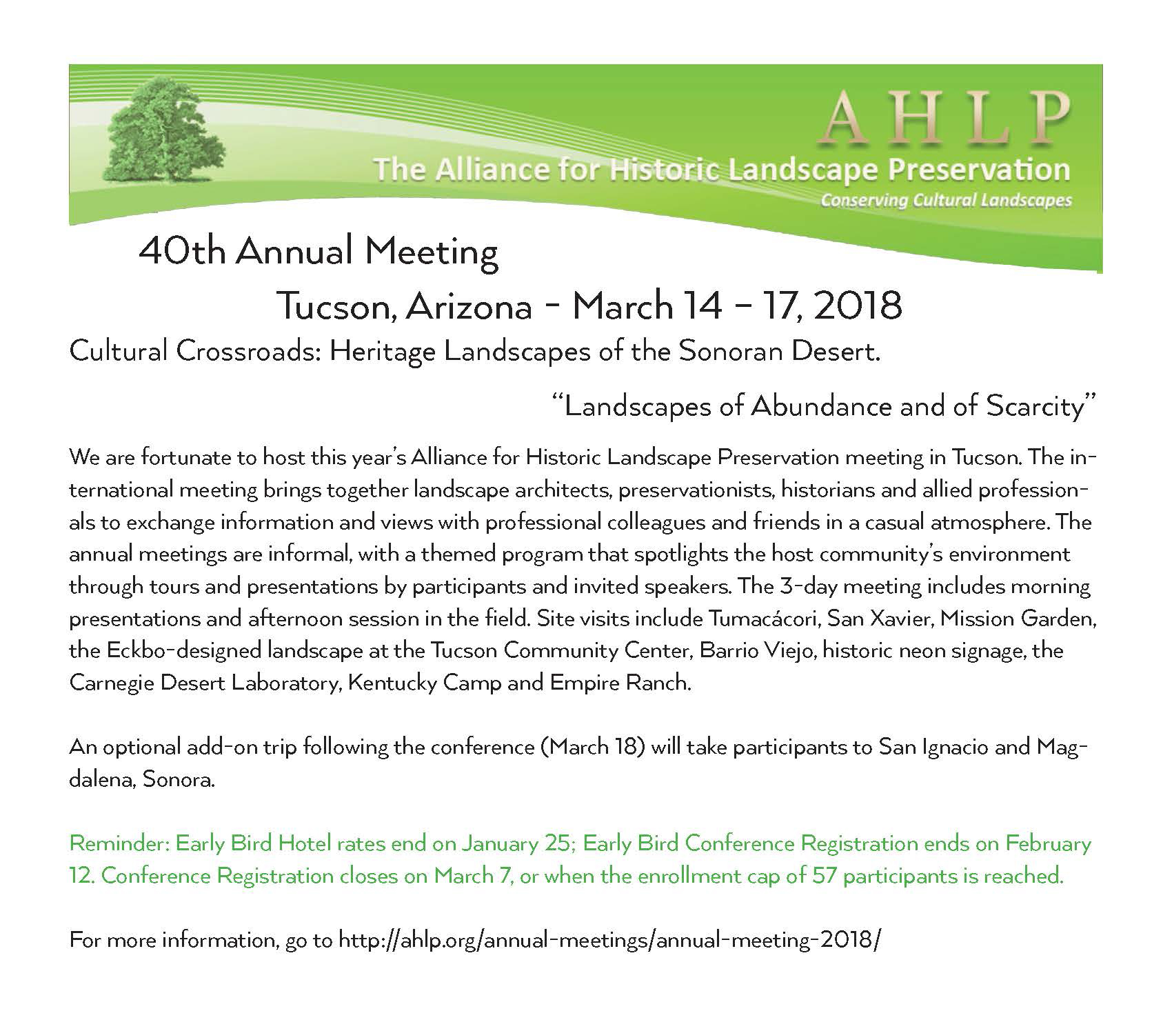 ASLA AZ - Alliance for Historic Landscape Preservation - 40th Annual Meeting @ AC Hotel by Marriott Tucson | Tucson | Arizona | United States